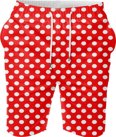 Snoogg Red Polka Dot Digital Printed Mens Casual Beach Jogger Shorts With Pockets Boxer Style (Small)