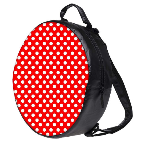 Snoogg Red Polka Dot Bookbag Rounded Backpack Boys Girls Junior School Bag PE Shoulder Bag