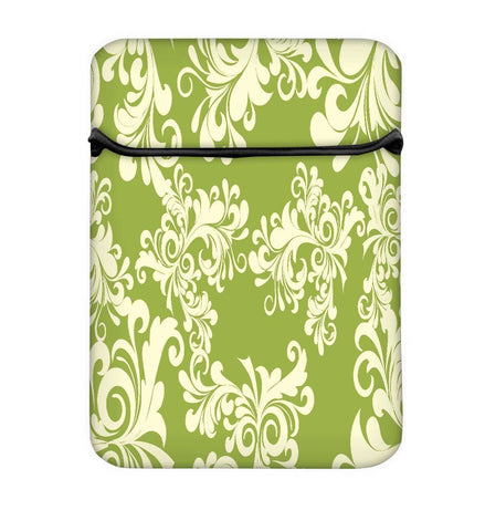 Snoogg Abstract White Green Pattern Laptop Case Flip Sleeve Pouch Computer Cover
