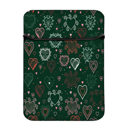 Snoogg Abstract Hearts Green Pattern Laptop Case Flip Sleeve Pouch Computer Cover