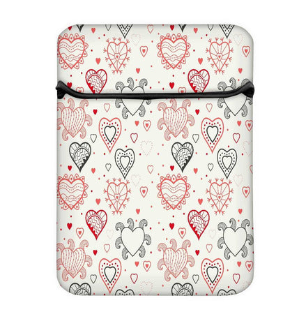 Snoogg Abstract Hearts White Pattern Laptop Case Flip Sleeve Pouch Computer Cover