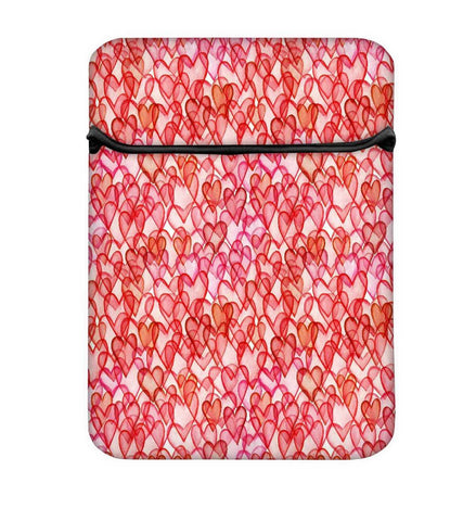 Snoogg Multiple Red Hearts Laptop Case Flip Sleeve Pouch Computer Cover