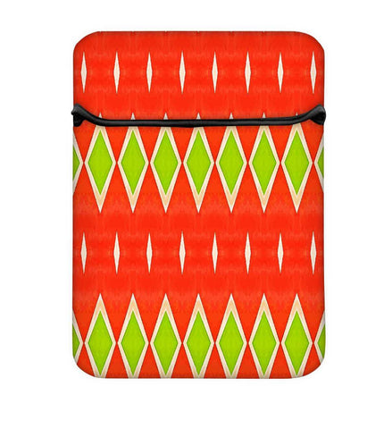 Snoogg Green Diamond Orange Pattern Laptop Case Flip Sleeve Pouch Computer Cover