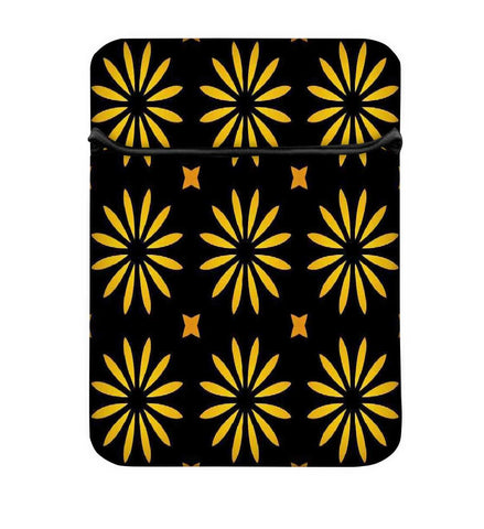 Snoogg Yellow Flower Black Pattern Laptop Case Flip Sleeve Pouch Computer Cover
