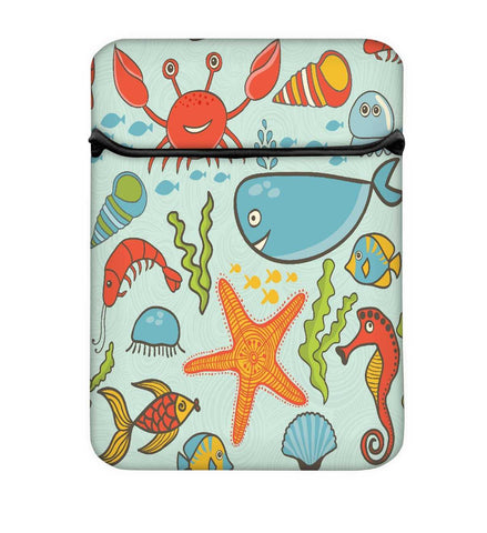 Snoogg Fish World Blue Pattern Laptop Case Flip Sleeve Pouch Computer Cover