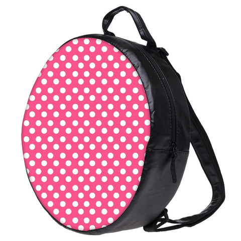 Snoogg Pink Polka Dot Bookbag Rounded Backpack Boys Girls Junior School Bag PE Shoulder Bag