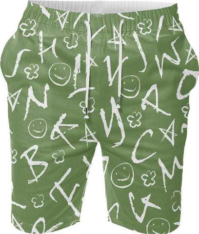 Snoogg Abstract Neon Pattern Design Digital Printed Mens Casual Beach Jogger Shorts With Pockets Boxer Style (Small)