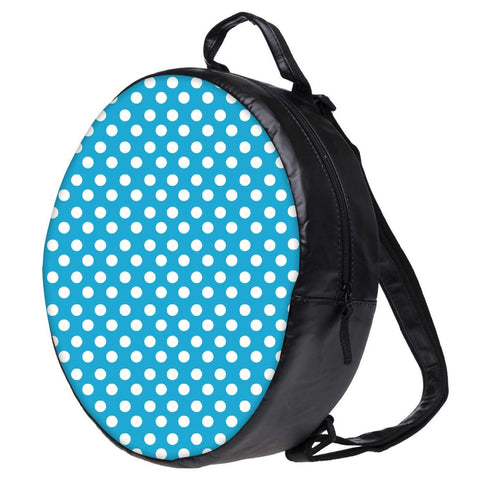 Snoogg Blue Polka Dot Bookbag Rounded Backpack Boys Girls Junior School Bag PE Shoulder Bag