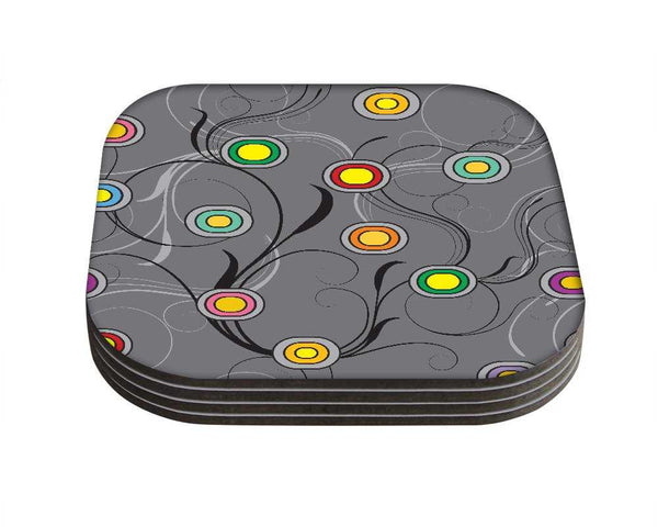 Snoogg Colorful Circles GreyDesigner Pack of 4 Square Table Coasters / Table and Kitchen Accessories