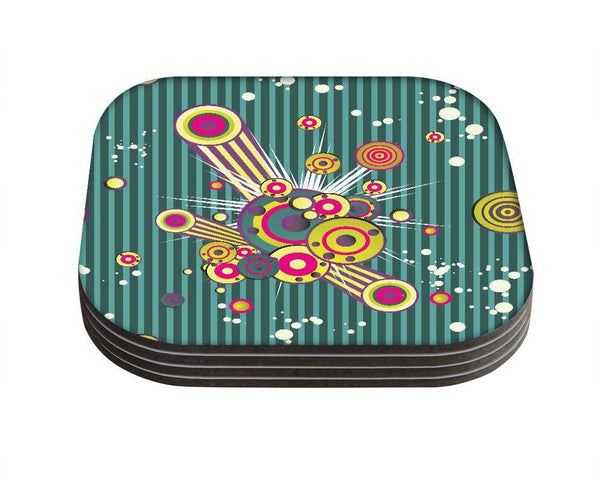 Snoogg Music BlastDesigner Pack of 4 Square Table Coasters / Table and Kitchen Accessories