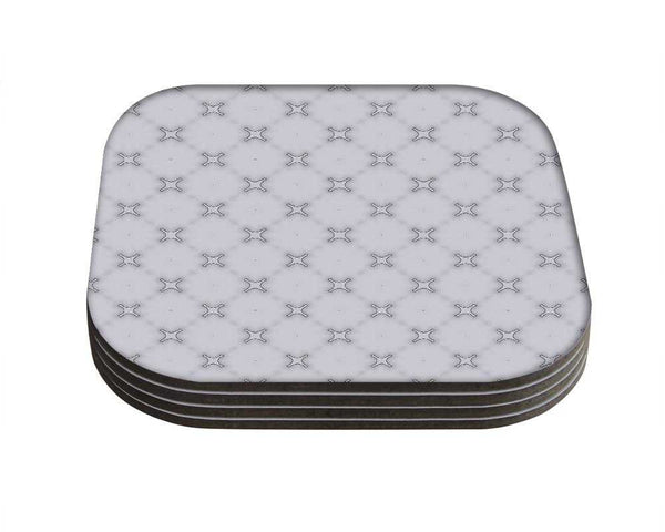 Snoogg Grey CrossDesigner Pack of 4 Square Table Coasters / Table and Kitchen Accessories