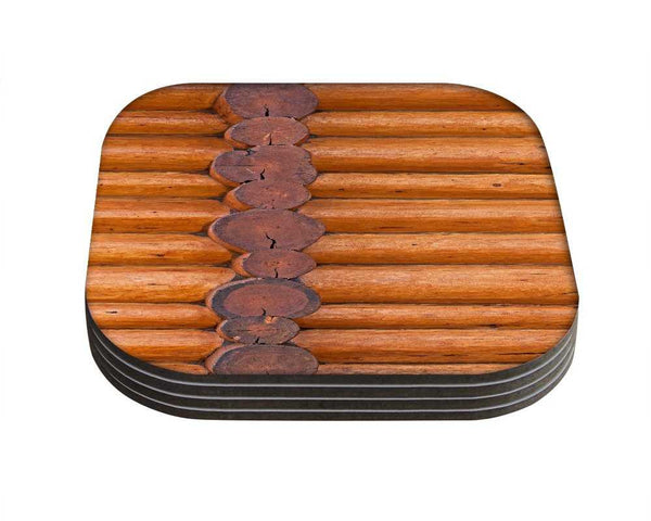Snoogg Woods PatternDesigner Pack of 4 Square Table Coasters / Table and Kitchen Accessories