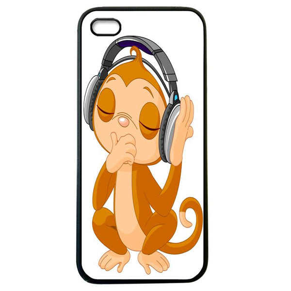 Monkey listens to music iphone 4 Case Cover