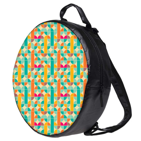 Snoogg Abstract Pattern Blue and Yellow Bookbag Rounded Backpack Boys Girls Junior School Bag PE Shoulder Bag
