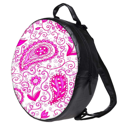 Snoogg Paisley Pink Pattern Bookbag Rounded Backpack Boys Girls Junior School Bag PE Shoulder Bag