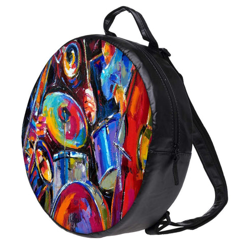 Snoogg Drum and Bass Painting Bookbag Rounded Backpack Boys Girls Junior School Bag PE Shoulder Bag
