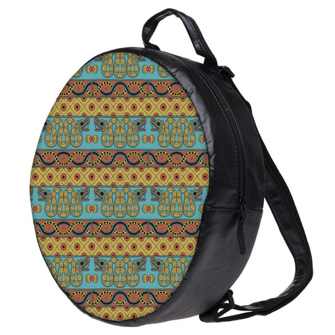 Snoogg Aztec Pattern Mustard Bookbag Rounded Backpack Boys Girls Junior School Bag PE Shoulder Bag
