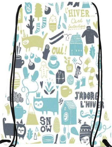 Snoogg lifestyle pattern 2562 Nylon Drawstring bacpack / sack bag