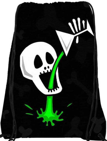 Snoogg skull drinking poison 2787 Nylon Drawstring bacpack / sack bag