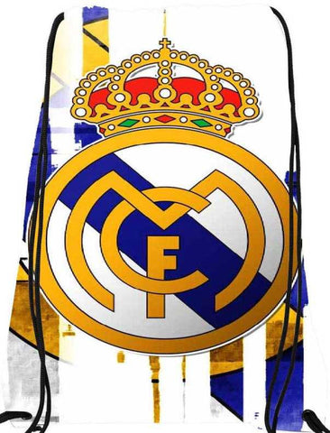 Snoogg Real Madrid white logo 2945 Nylon Drawstring bacpack / sack bag