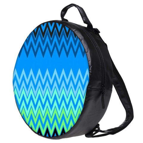 Snoogg Wave Patterns Blues Bookbag Rounded Backpack Boys Girls Junior School Bag PE Shoulder Bag