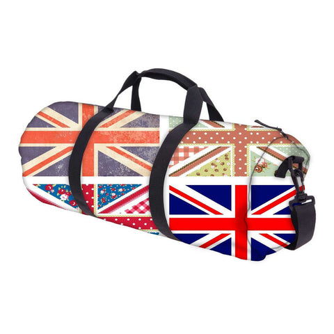 Snoogg 4 Cute British Flags In Shabby Chic Floral And Vintage Style Gym Bag Sports