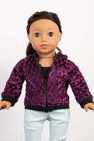 Mulberry Burnout Velvet Aviator Jacket - American Girl Doll Clothes