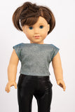 Blue Sparkle Cropped Lila Blouse - American Girl Doll Clothes