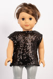 Black Sequin Lila Blouse - American Girl Doll Clothes
