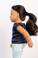 Navy Blue Satin Lila Blouse - American Girl Doll Clothes