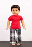 Red and Plaid Pants and Tee Pajama Set - American Girl Doll Clothes