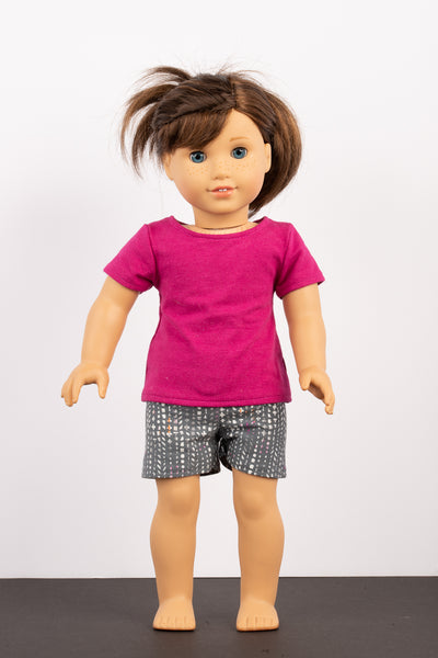 Pink Shorts and Tee Pajama Set - American Girl Doll Clothes