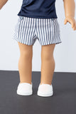 Blue and White Striped Pin-tuck Shorts - American Girl Doll Clothes
