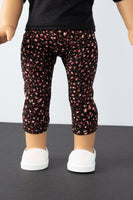 Black and Pink Floral Leggings - American Girl Doll Clothes