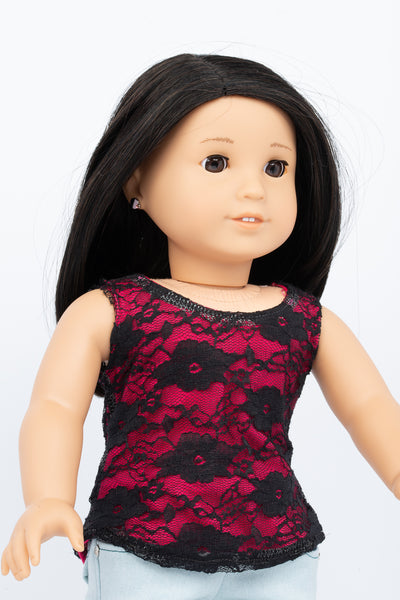 Pink and Black Lace Layered Tank Top - American Girl Doll Clothes