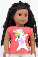 Graphic Tee, Dabbing Unicorn - American Girl Doll Clothes