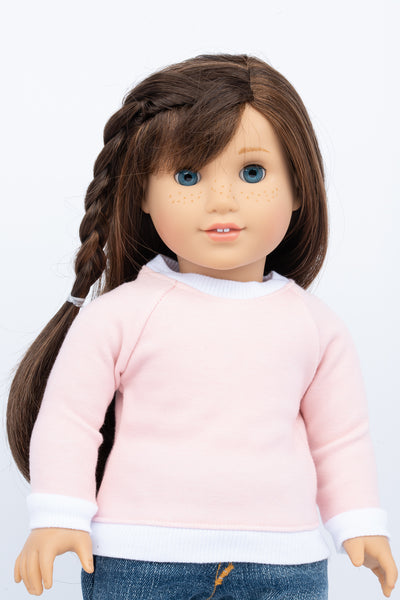 Light Pink Raglan Sweatshirt - American Girl Doll Clothes