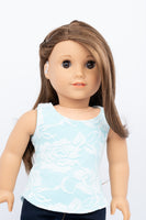 Light Blue and White Lace Layered Tank Top - American Girl Doll Clothes
