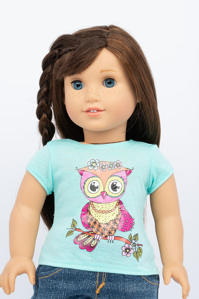 Graphic Tee, Pink Owl - American Girl Doll Clothes