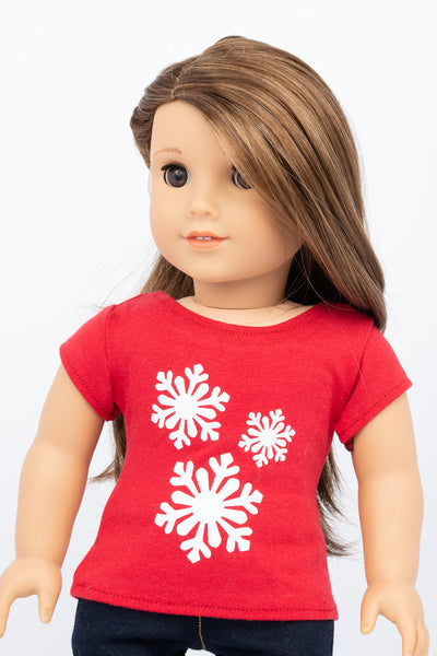 Graphic Tee, Snowflakes - American Girl Doll Clothes