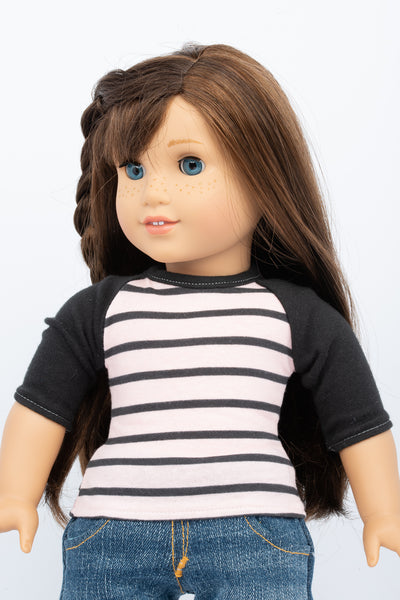 Pink and Black Striped Raglan Top - American Girl Doll Clothes