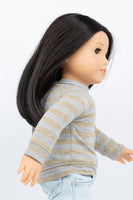 Gold and Gray Striped Raglan Top - American Girl Doll Clothes