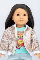 Gold Velvet Aviator Jacket - American Girl Doll Clothes