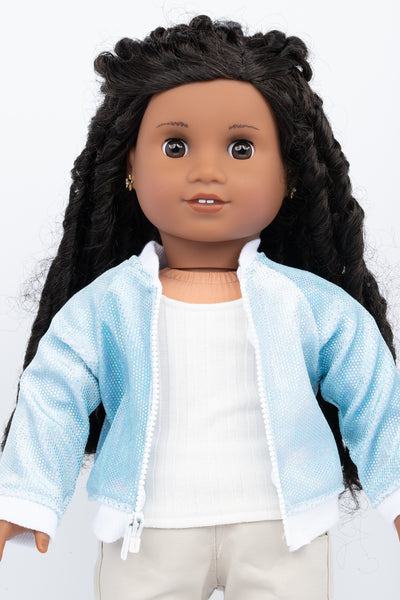 Blue Holographic Velvet Aviator Jacket - American Girl Doll Clothes