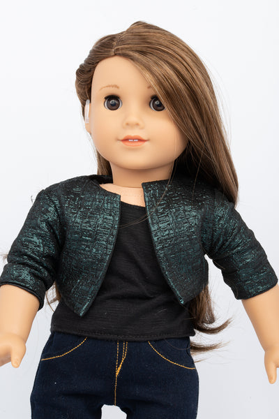 Green Brocade Cropped Jacket - American Girl Doll Clothes