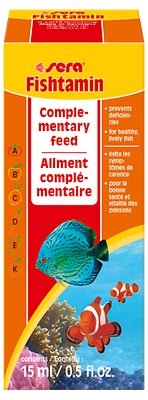 Sera Fishtamin 15ml, adds extra vitamins to your fishes diet.