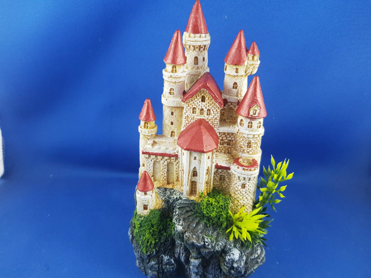 Kazoo Castle with Plants & Red Roof  Small Aquarium Ornament