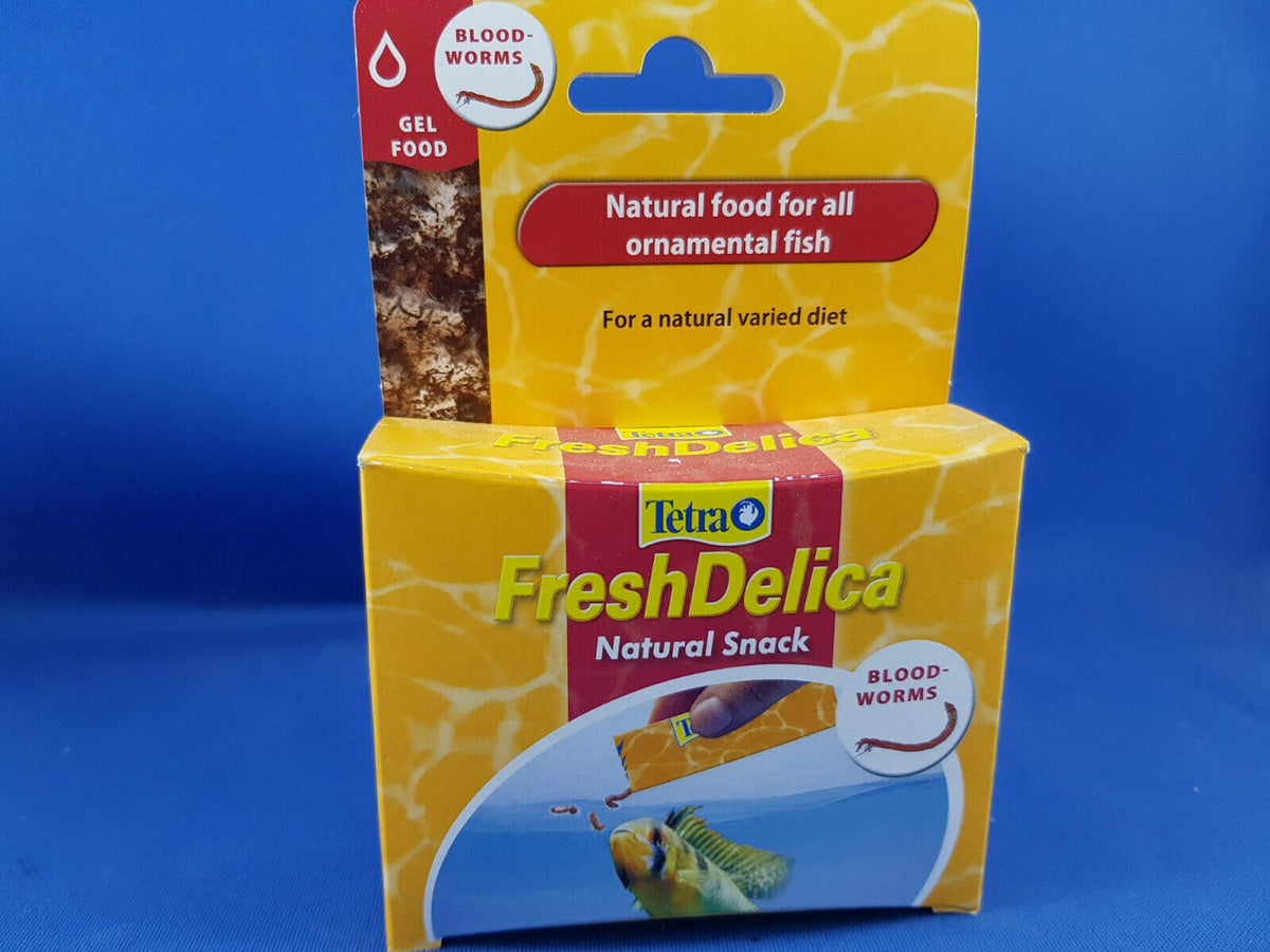 New Tetra Fresh Delica Bloodworm 16 x 3g , best fish treat food available!