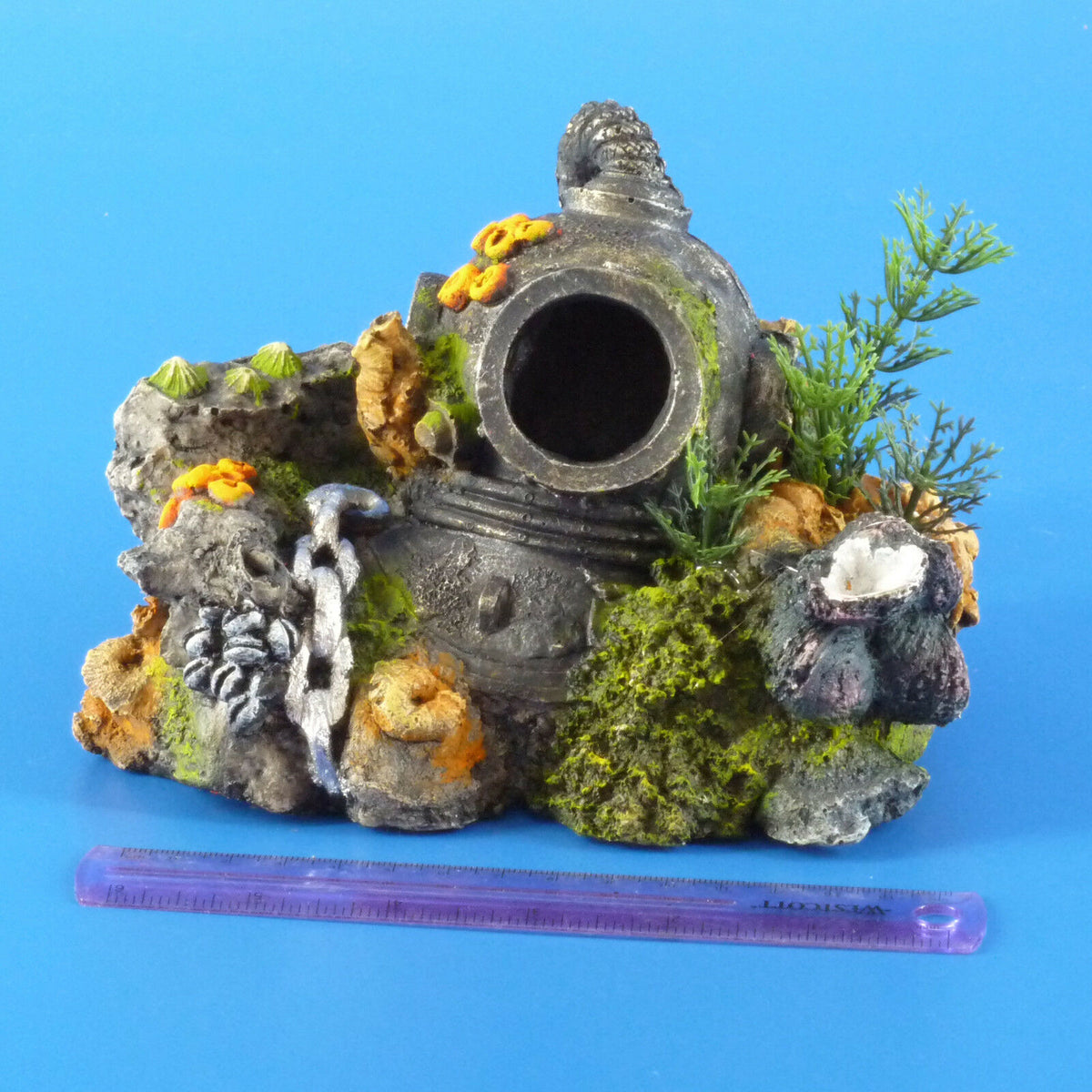 New Kazoo Diver's Helmet with Plants Small Aquarium Ornament