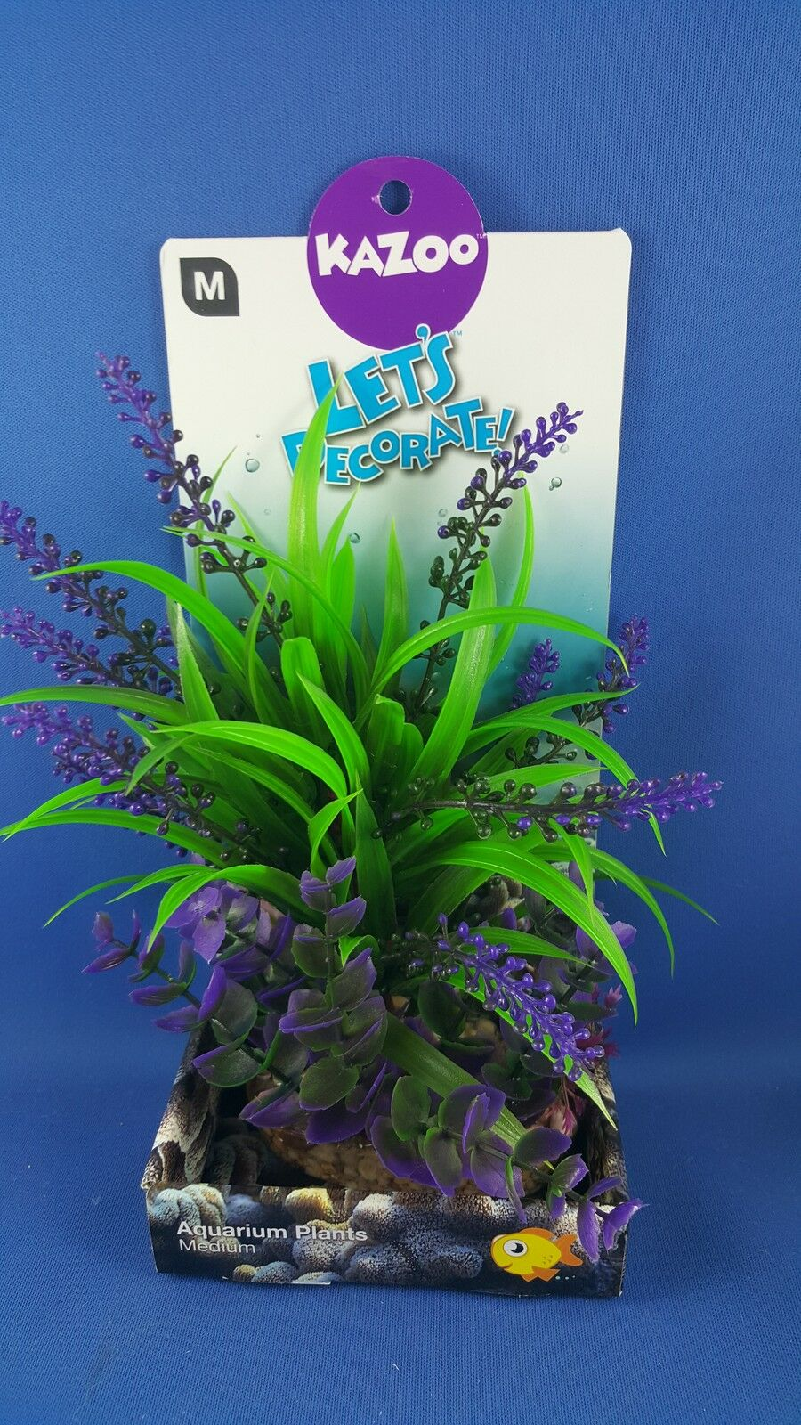Kazoo aquarium plant, medium size, green & purple leaves with solid pebble base
